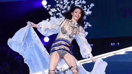 维密大秀奚梦瑶摔倒, 外国男歌手同步单膝跪下, 记者采访奚梦瑶大赞她充满正能量