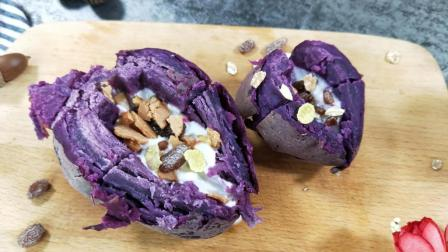 热量超低的紫薯酸奶派, 这样吃减脂效果最好, 一周瘦10斤