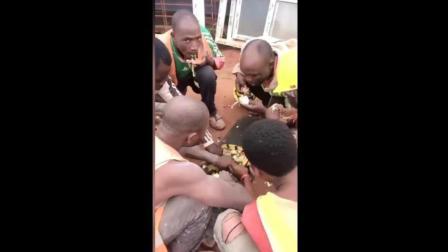 非洲人捡中国人吃剩的饭菜, 围在一起抢着吃!