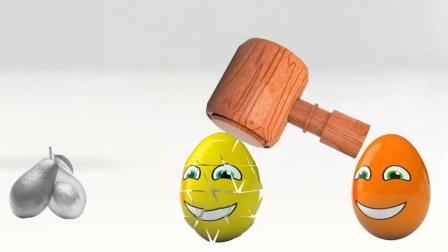 木锤敲破彩色鸡蛋变成各种水果, 给它们染上不同的颜色