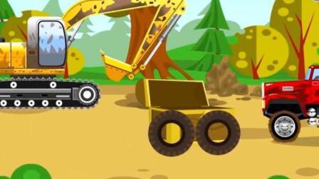儿童挖掘机视频表演 挖掘机与翻斗车挖到一箱宝物 挖掘机拯救卡在断桥上 的水泥搅拌车
