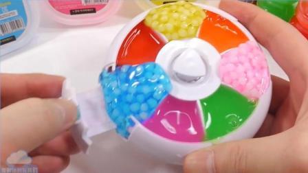 嘎吱 粘液颜色水粘土旋转案例 DIY惊喜冰淇淋玩具布丁果冻冰淇淋做法【俊和他的玩具们