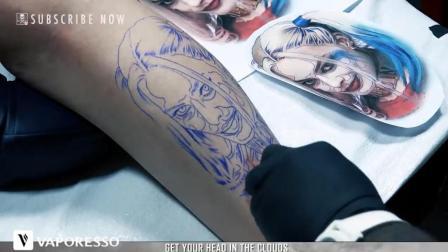 自杀小分队小丑女逼真纹身, 眼神很到位