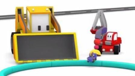 迷你工程车动画 迷你挖掘机爱得起重机查理推土机建造海盗船 爱得把比利变大查理变小
