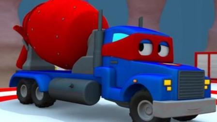 汽车总动员 汽车城的超级变形卡车 卡尔变形为水泥搅拌车和起重机一起修理路灯