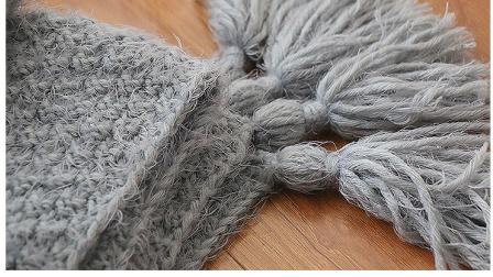 毛儿手作棒针毯子流苏毯子桂花针新手教程钩针作品