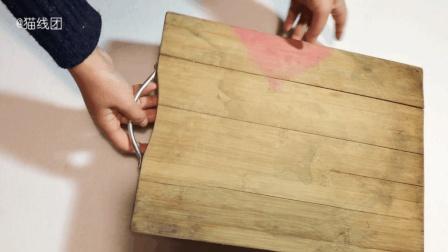 老菜板用久了长霉还裂缝, 扔掉太可惜, 不如我们给他钉几个钉子