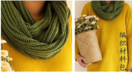 【金贝贝手工坊148辑】M116双元宝针围巾毛线棒针编织成人围巾围脖编织方法图