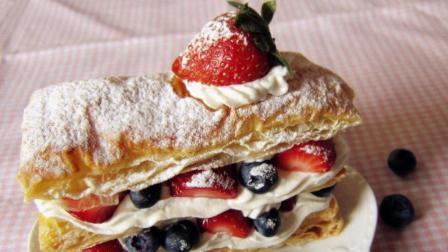 1分钟学会自制法式甜点拿破仑, 酥脆可口, 超好吃的蛋糕