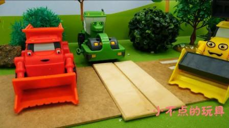 小不点的玩具 2017 儿童卡车工程车 挖掘机动画片工作视频 压路机大卡车修理道路 1128