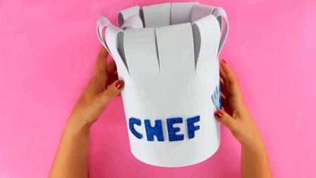 幼儿角色扮演, 简易漂亮的幼儿DIY厨师帽制作