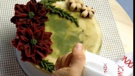 教你做圣诞花环裱花蛋糕, 看的复杂, 学起来很简单