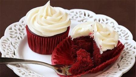 2分钟学会做红丝绒纸杯蛋糕, 只需几步, 绵密松软又好吃
