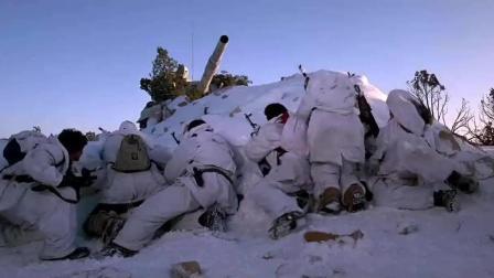 敌军躲藏在雪林中, 被美军战机轰炸, 但敌人很强大, 开着坦克奋战