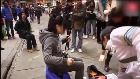 二胡精选名曲30首街头美女二胡演奏《上海滩》