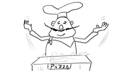 一个做披萨的卡通胖厨师漫画教程 宝宝轻松学漫画