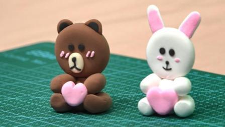 玩具小宇宙40 三分钟捏一个萌萌的可妮兔 手里还抱着一颗小爱心呢