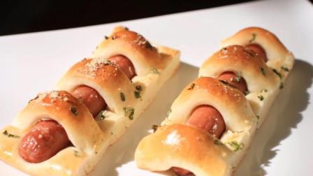 编制香肠面包卷, 做法超简单, 做早餐加杯牛奶, 大人小孩都爱吃