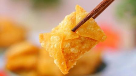 教你个南瓜的新吃法, 用馄饨皮一包外酥里糯香甜可口, 上桌秒光