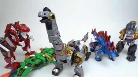 5种 恐龙队长变形机器人 5阶段组合合体玩具韩国超人气玩具 暴龙机器【俊和他的玩具们】