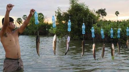 农村小伙独创的无人自动钓鱼系统, 鱼一咬钩就开挂, 厉害了!