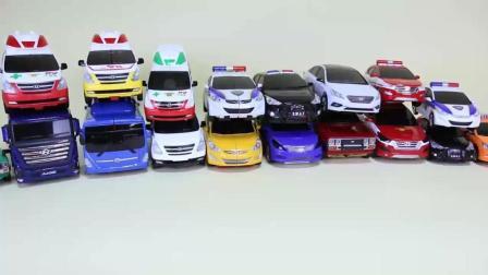 白色的小汽车和警车喜欢变形金刚