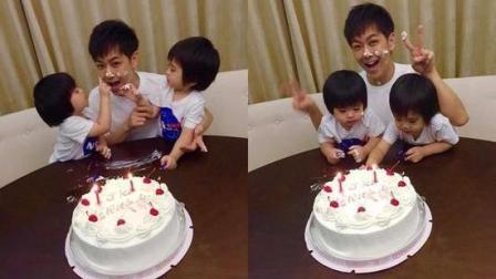 """林志颖被双胞胎用2岁生日蛋糕奶油""""洗脸"""", 妈妈则晒儿子的""""裸照"""""""