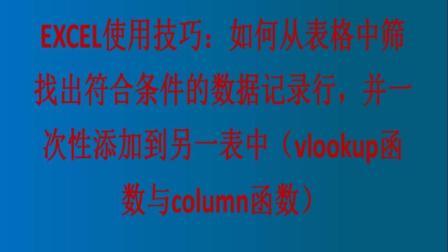 EXCEL使用技巧: 如何从表格中筛找出符合条件的数据记录行(VLOOKUP函数与COLUMN函数)