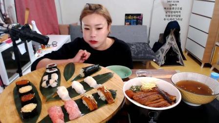韩国大胃王新姐吃寿司、鳗鱼饭, 吃完再吃炸鸡配啤酒, 还要再吃一个大蛋糕