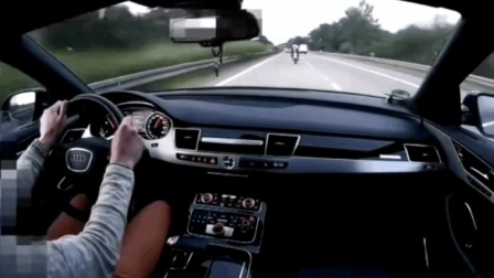 奥迪A8高速上被一辆重机超车后, 瞬间开启战斗模式!