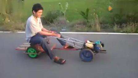 民间高手自制敞篷跑车, 速度不输汽车, 不信, 来比比!