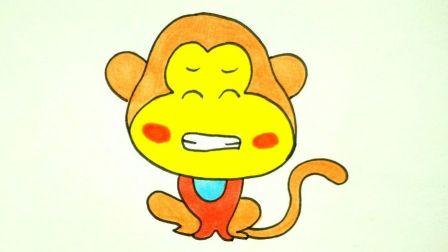 宝宝爱画画第五十五课 儿童简笔画猴子教程, 十二生肖猴子画法图片步骤