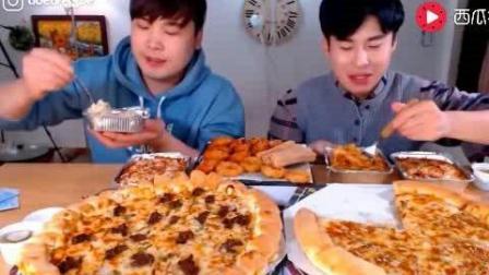 韩国大胃王吃播豪放派donkey兄弟吃大披萨, 芝士焗意大利面和炸物