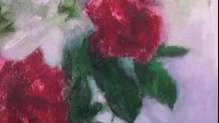 书画美术老师示范油画临摹玫瑰花的画法(10)