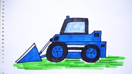 神笔简笔画 工程系列三角铲车, 儿童绘画图片早教场景教程