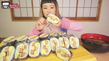 日本大胃王俄罗斯佐藤吃播自制超多的紫菜猪肉鸡蛋包饭