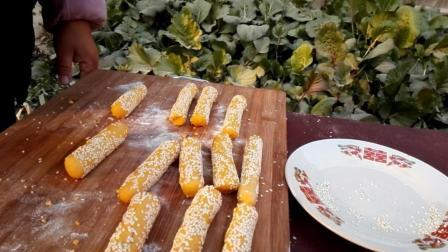南瓜紫薯芝麻条这样做, 比红薯丸子还好吃, 营养丰富做法简单