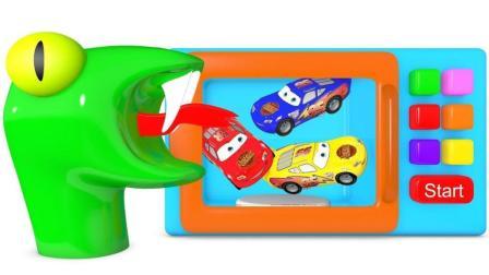婴儿学习英语颜色娃娃微波闪电麦肯汽车就像家一样迪斯尼惊喜鸡蛋火车【俊和他的玩具们
