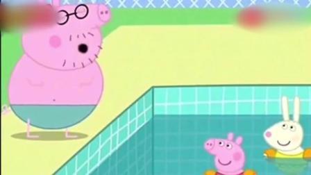 猪爸爸真棒, 跳水动作太完美了, 佩奇感到很骄傲!