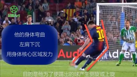 足球教学像梅西一样踢任意球动作教学
