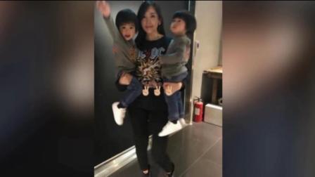 陈若仪抱俩小儿子探班林志颖 美妈漂亮儿子可爱