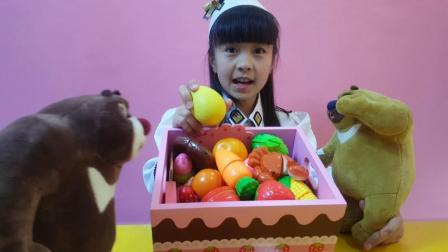 熊出没大蛋糕礼物盒里水果切切乐奇趣蛋