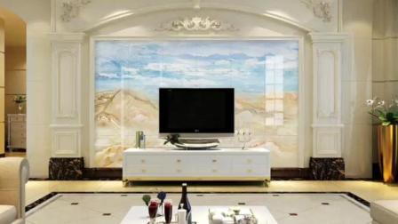 简约欧式电视背景墙装修效果: 大理石纹 山水画