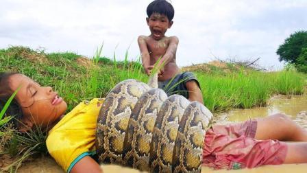 两个小娃野外挖田鸡, 突然一条大蟒蛇从对岸杀了过来, 好恐怖!