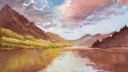 超简单的水彩教程 好看极了 镜湖与水里木 手绘 水彩画 水彩风景 绘画 美术 朱敏光