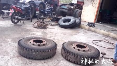 实拍: 印度汽修厂工人师傅给卡车快速更换轮胎过程