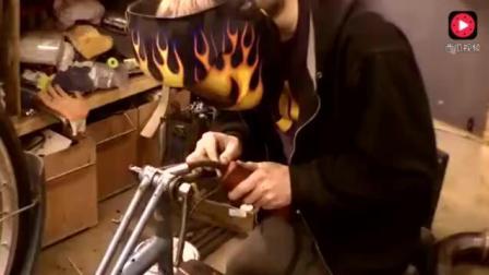 牛人自制喷气式自行车, 一瓶煤气罐做引擎, 请你不要太牛