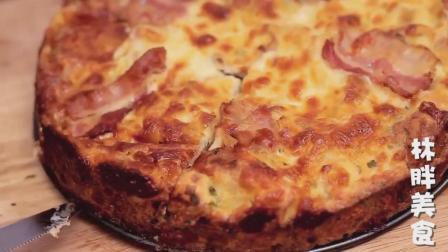 切片的法国面包里搭配培根奶酪, 自己做一个披萨