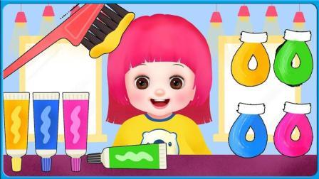 魔法造型师要给我们的设计漂亮的发型咯 宝宝也来弄潮流发型了 小伶玩具 扮家家