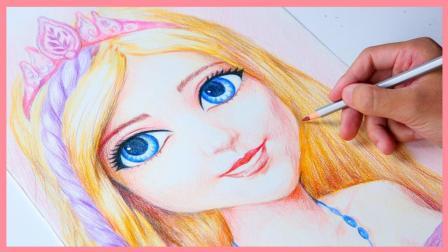 彩绘画的素描老师教你画芭比娃娃 哇画得好漂亮耶跟真的一样 小伶玩具 熊出没 扮家家